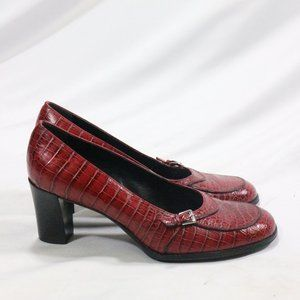FRANCO SARTO Red Croc Print Buckle Front Heels